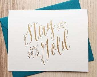 Stay Gold Screen Printed Greeting Card / The Outsiders Movie Card / Stay Gold Ponyboy Card / Literary Quote Card / Literary Greeting Card