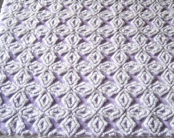 """Vintage Chenille Bedspread Fabric Purple / Lavender and White Gothic Cross 25"""" x21"""""""
