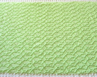 "Lime Green Cabin Crafts Squiggle Pattern Vintage Chenille Bedspread Fabric 18"" x 25"""