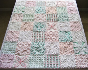 "Ready Made ""Summer Morning"" -  Handmade Heirloom Quality Vintage Chenille Baby, Toddler or Lap Quilt"