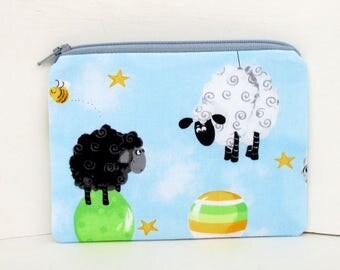Notions Bag, Small Zipper Pouch , Sheep on Balloons, Lewe the Lamb