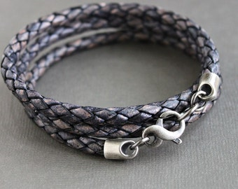 Blue Leather Braid Wrap Bracelet, Triple Wrap Bracelet, Silver Infinity Clasp