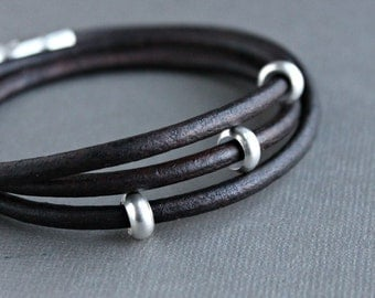 Mens Leather Wrap Bracelet Silver Beads, Brown Leather Cord Wrap Bracelet
