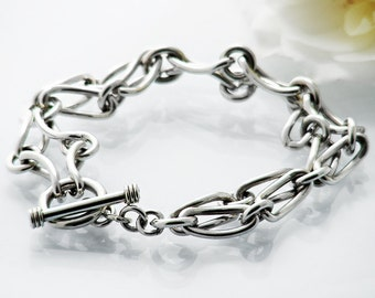 Vintage Sterling Silver Chain Bracelet | Heavy, Double Link Fob Chain & Toggle Clasp | 925 Silver | Wide Chain Bracelet - 7 Inch Wrist Size
