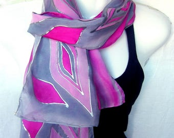 Handpainted Silk Scarf, Pink Milky Gray Silver, Silver Diamonds Abstract Design, Hand Painted Silk Scarf, Gift Under 50