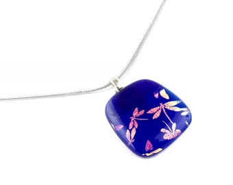 Necklace, Pendant, Pink Dragonflies on Royal Blue, Dichroic Jewelry
