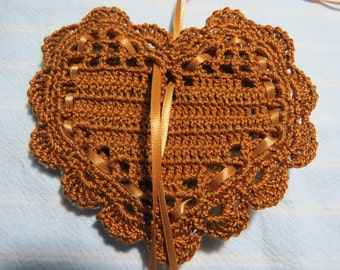 "Dark Gold 4""X4"" Heart Sachet-'Cinnamon Apple' Fragrance-Heart Sachet-Hand Crocheted Herbal Sachet-Cotton and Satin-Cindy's Loft-780"