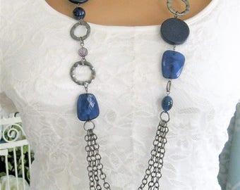 Long Blue Multi Strand Necklace, Long Beaded Necklaces, Multistrand Blue Beaded Necklaces, Multi Strand Necklaces, Silver Necklace, N909