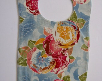 Bib, Large Bib, Blue Floral, Toddler Bib, Baby Bib, Food Bib, Reversible Bib, Minky Bib, Oversized Bib, Ready to Ship, Baby Shower Gift