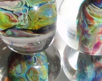 AFTER the STORM...Four Handmade Lampwork Beads purple black blue swirl planet reactive BeatleBaby Glassworks