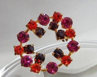 CHRISTMAS SALE Vintage Rhinestone Brooch. Pink, Orange and Garnet Red Rhinestones.