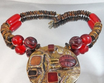CHRISTMAS SALE Vintage Scarab Necklace. Red Glass Beads.  Stone Scarab.  Brass. Carved Stone Beads. Copper.