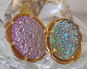 ON SALE Vintage Judy Lee Earrings.  Faux Dragon's Breath Fire Opal Art Glass Cabochon Earrings.  Gold Plated Pink Blue Judy Lee Earrings.
