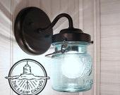 Vintage BLUE Canning Jar SCONCE Light - Mason Wall Flush Mount Lighting Fixture Farmhouse Kitchen Ceiling Chandelier Pendant Rustic Lamp Fan