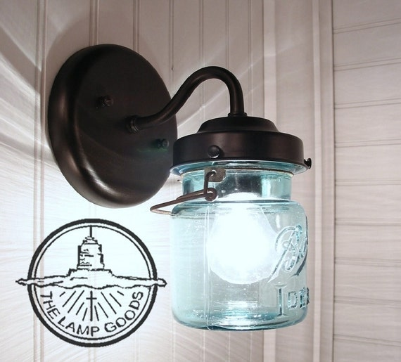 Wall Mounted Fruit Jar Lights : Vintage BLUE Canning Jar SCONCE Light Mason Wall Flush Mount