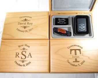 4 Engraved Groomsmen Valet Box Gift Sets, Best Man Gift, Personalized Engraved Money Clip, Pocket Knife, Lighter, Custom Groomsmen Gift Sets