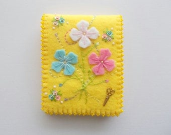 Needle Book Yellow Felt Needle Keeper with Hand Embroidered Felt Flowers Sequin Flowers Brass Sciccors Charm and Beaded Edge Handsewn