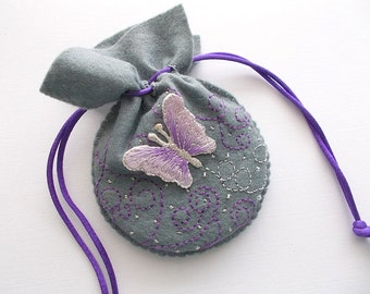 Jewelry Pouch Grey Felt Drawstring Bag with Butterfly Applique Swirls and Dots Hand Embroidered Handsewn