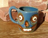 Zombie Coffee Cup in Blue. Scary Spooky Halloween Wicked Smile Skull. Creepy Fun Coffee Cup. Zombie Lover Walking Dead Beer Mug. Pottery