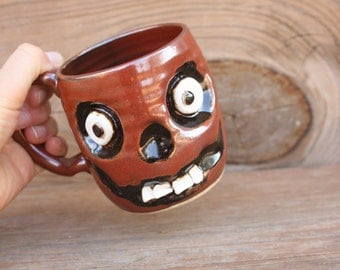 Zombie Monster Mug. Walking Dead Red Zombie Coffee Cup. Creepy Zombie lover. Large Ceramic Mug Spooky Face Handmade Pottery Ug Chug.