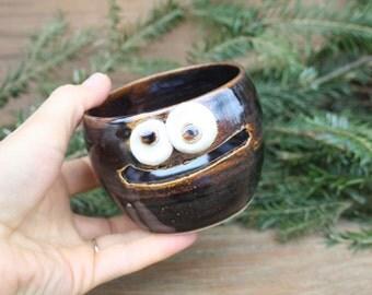 Cooking Gadget Egg Divider. Dark Chocolate Brown Black. Baking Tools. Ceramic Egg Separator. Traditional Functional Folk Pottery Face Jar.