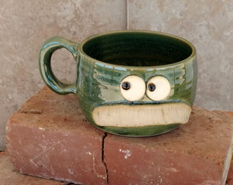 Mustache Shaving Bowl. Pottery Ceramic Face Mug with Mustache. Green Soup Mug. Fun Husband Man Gift. Uptight Witty Coffee Cup. Unique Gifts.