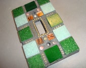 MOSAIC Light Switch Plate -  Single Switch, Wall Art, Wall Plate, Shades of Green, Copper, Silver