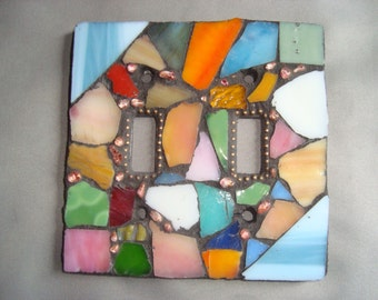 MOSAIC LIGHT SWITCH Plate Cover - Double, Wall Plate, Wall Art, Multicolored, Stained Glass Chips