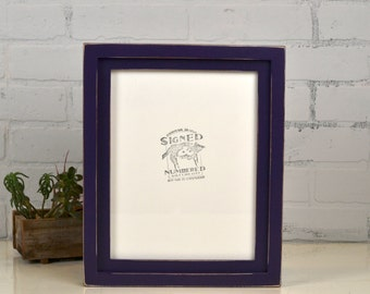 """8.5x11"""" Picture Frame in 1x1 Flat Build Up Style with Vintage Deep Purple Finish - IN STOCK - Same Day Shipping"""