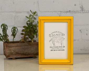 4x6 Picture Frame in Better Deep Double Cove Style with Vintage Buttercup Finish - IN STOCK - Same Day Shipping - 4 x 6 Photo Frame Yellow