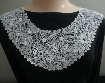 Beautiful Irish Crochet Collar White