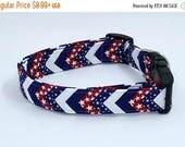 ON SALE Made In The USA Patriotic July Fourth 4th Chevron Zig Zag Stripe Dog Collar
