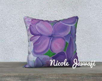 Lovely Lilacs 18x18 throw pillow case