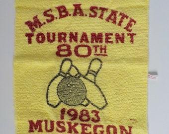 Vintage Bowling Towel • 1980s Michigan Bowling Towel • Muskegon Michigan 1983 USA