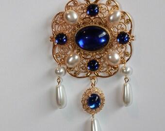 Sapphire Blue and Pearl Tudor Brooch Renaissance Medieval Jewelry Pin Borgias Jane Seymour