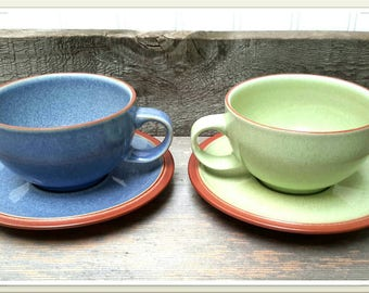 Denby Stoneware Tea Cups Set of two blue and green cups with saucers made in England Latte/Cafe Cups