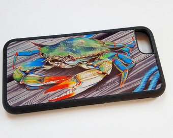 Blue Crab iPhone case fits iPhone 6 and 7 and galaxy 6 and 7 nautical rope pier Claws