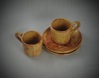 Ceramic Espresso Cups with Saucers