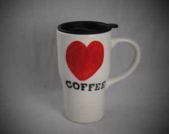 Coffee Love Ceramic Travel Mug with  a Lid