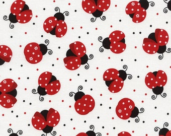 Good Luck LadyBugs Insects Lady Bug Polka Dot Fabric on White TT