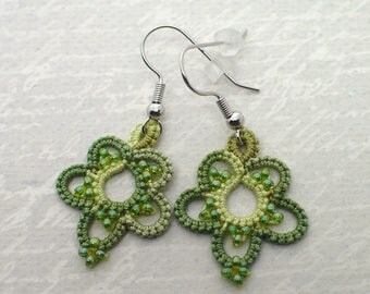 Greenery Lace Earrings • Tatted Lace Flower Earrings • Lightweight Earrings • Everyday Earrings • Romantic Lace Drops • Lace Jewelry