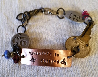 Found Objects Statement Bracelet - Adventure is Calling