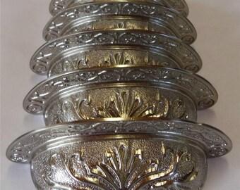 "6 Bin Cup Pulls Furniture Drawer Door Pulls Ornate Metal Silver Satiny 2-1/2"" Centers"