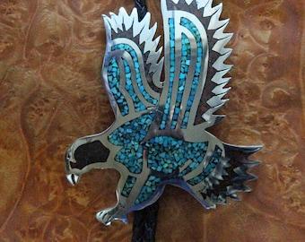 Navajo Silver Bolo Tie Inlaid Eagle