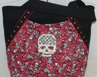 Red Americana Bandanna Skull Tote Bag Tattoo Skull Purse Alternative Fashion Shoulder Bag Rocker Tote Bag Ready To Ship