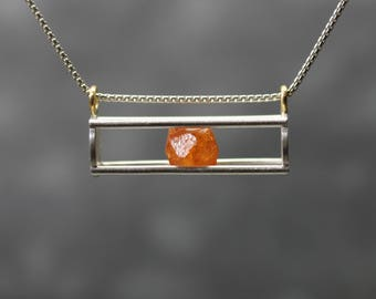 Raw Orange Spessartite Garnet Crystal Cage Necklace Silver 22k Yellow Gold Unique Kinetic January Birthstone Pendant For Her - Pumpkin Slide