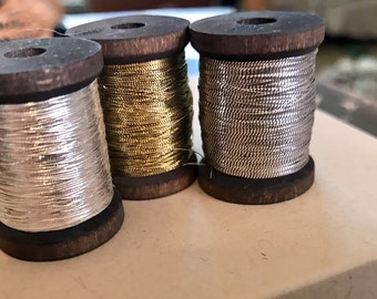 Antique silver and gold thread  perfect for flyfishing and French Steel restorations 3 wooden spools  more than 1000 inches