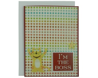 I'm the Boss Cat Greeting Card Funny Cat Card Im the Boss Cat Lover Gift Blank Card Cat Gift Blank Cards Colorful Polka Dots