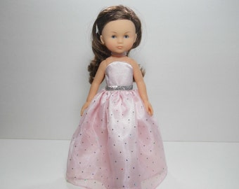 13 inch doll clothes made to fit dolls such as Corolle Les Cheries doll clothes, Pink Fancy Princess Dress, 12-1632