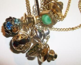 Vintage Rhinestone & faux stone Tie Tack Pin Lot • 4 pieces